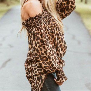 Leopard Off the Shoulder Tunic Blouse Top